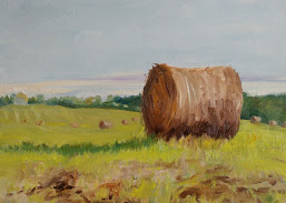Looking south on Concession 2. Magic hour. Oil on Canvas. $400